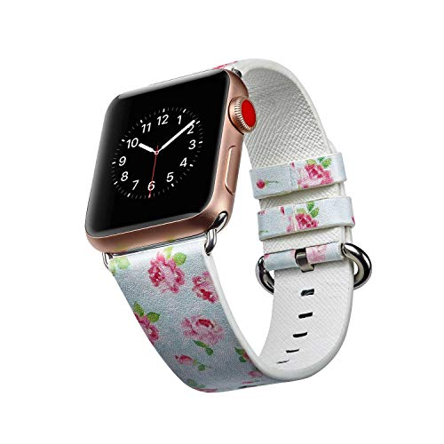 Cywulin Band for Apple Watch 38mm 42mm 40mm 44mm, Floral Printed Leather Watch Replacement Loop Flower Design Wrist Strap Bracelet for iWatch Smartwatch Series 4/3/2/1 Women Men Ladies (38mm/40mm, G)