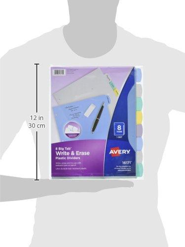 Avery Big Tab Write Erase Durable Plastic Dividers 8 Multicolor