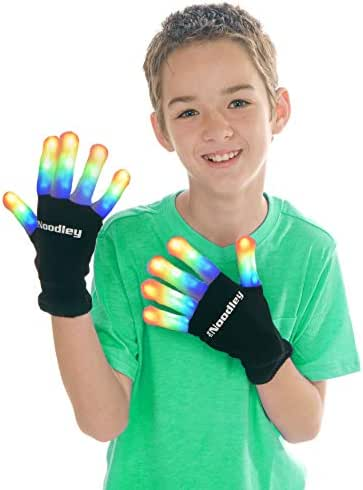 The Noodley's Flashing LED Kids Light Up Gloves Kids Size Tween Gifts for Boys and Girls (Black, Medium)
