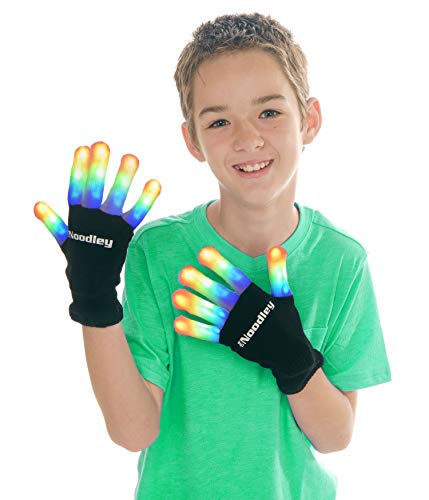 The Noodley's Flashing LED Light Gloves Kids Size Medium Black with Extra Batteries Super Bright LEDs Red, Green, and Blue -