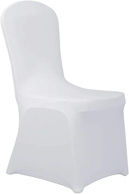 Haorui Spandex Chair Covers for Dining Room Banquet Wedding Party (4 pcs, White)
