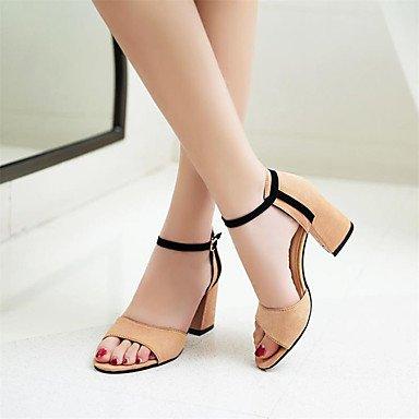 LvYuan Mujer Sandalias Ante Verano Paseo Combinación Tacón Robusto Negro Amarillo Verde 7'5 - 9'5 cms Black