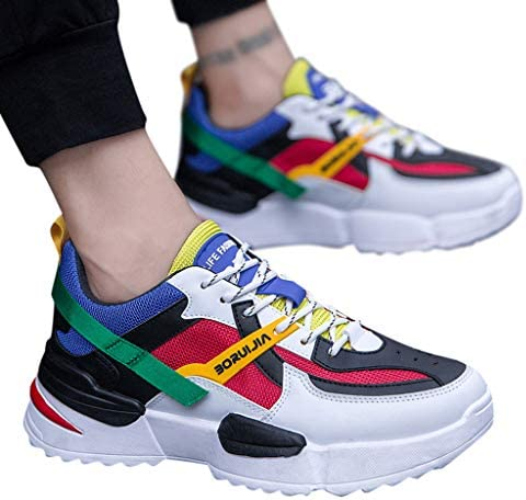 Color Stitching Retro Trend Thick Soles Wide Feet Comfortable Large Size Men S Sneakers Mesh Casual Low Top Breathable Running Street Daily Exercise Work And Safty Shoes Buy Online At Best Price In Uae