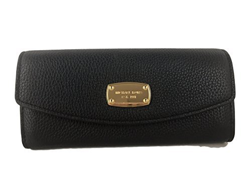 Michael Kors Fulton Slim Flap Black Pebbled Leather Wallet - Black Pebbled