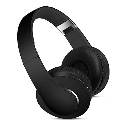 Premium Over-Ear Headphones- Foldable Headset with Active Noise Cancelling Stereo Deep Bass Sound- for TV, Smartphones and All Electronic Devices- On-Ear with Mic Wireless with Micro SD Slot Black
