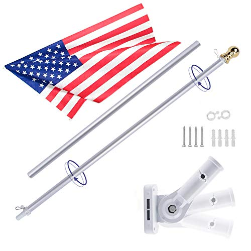 - Gientan 5FT Aluminum Tangle Free Spinning Flag Pole Kit with US Flag, Premium Heavy Duty American Flagpole with Stainless Steel Clip & Free Metal Bracket for Residential House or Commercial, Silver