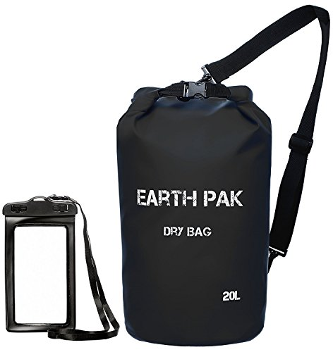 Dual Pak (Earth Pak -Waterproof Dry Bag - Roll Top Dry Compression Sack Keeps Gear Dry for Kayaking, Beach, Rafting, Boating, Hiking, Camping and Fishing with Waterproof Phone Case)