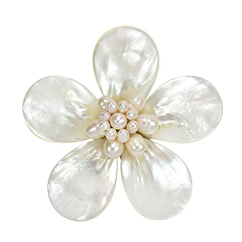 - AeraVida Daisy Delight White Mother of Pearl and Cultured Freshwater White Pearl Pin or Brooch
