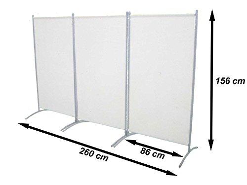 Trennwand Raumteiler Paravent Sichtschutz 3 teilig beige Metallrahmen NEU