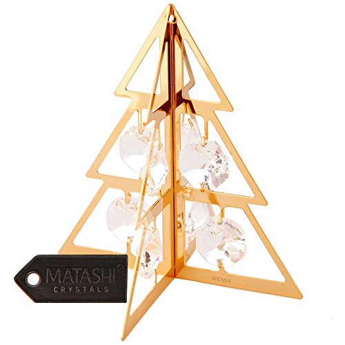 [24K Gold Plated Crystal Studded Christmas Tree Ornament Hanging Ornament by Matashi] (24k Christmas Tree Ornament)