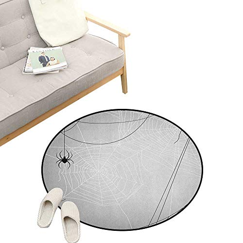Spider Web Round Rug ,Spiders Hanging from Webs Halloween Inspired Design Dangerous Cartoon Icon, Flannel Microfiber Non-Slip Soft Absorbent 23