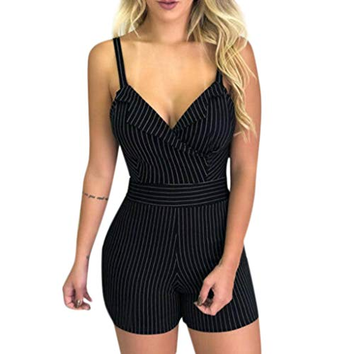 - Dainzuy Jumpsuit for Women Elegant Short Sleeveless V Neck Spaghetti Strap Romper Striped Waist Playsuit Holiday Clothes Black
