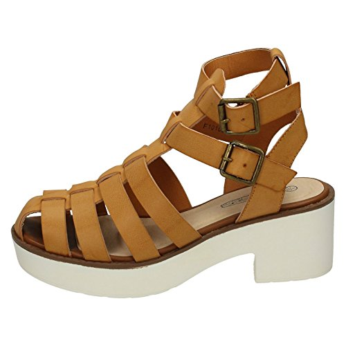 Spot On Ladies High Platform Heel Gladiator Sandal Tan (Beige) NKvSJ1SL