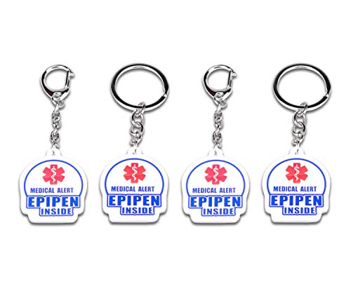 4 Pack Epipen Inside Keychain - Allergy Medical Alert Symbol Bag Tags Set, Double Side Key Tag for Zipper Pull Charm 1.4 for Adult and Child