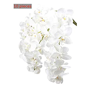 Ivalue 28″ Artificial Orchid Flower Stems Real Touch White Orchid Flower Plants Pack of 10, Box Packed, Perfect for Gift