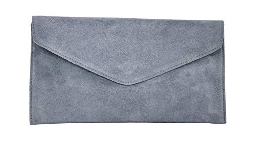 Medium Grey Suede Clutch Rebecca Brand Handbag Party Large Italian Genuine Prom Verapelle Bag Shaped Purse Envelope gBxSf6q