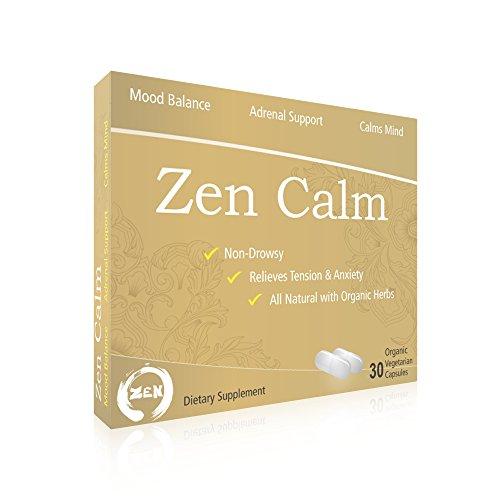 Zen Calm | Stress Relief w/ Adrenal Support. Feel Calm and Reduce Anxiety. Made with 6 Organic herbs including Ashwagandha, Rhodiola rosea, Holy Basil. 30 veggie capsules. (Zen Magnolia)