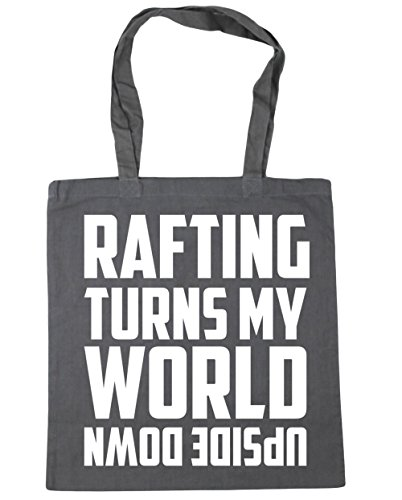 HippoWarehouse Rafting enciende mi mundo al revés Tote Compras Bolsa de playa 42cm x38cm, 10litros gris grafito