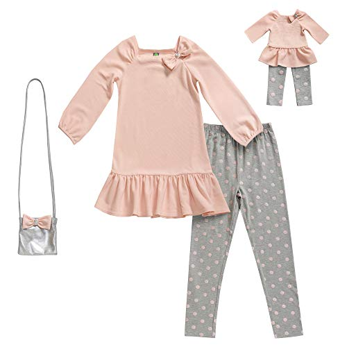 Dollie & Me Girls' Apparel Knit Legging Set with Matching Doll Outfit in, Pink, Size 14 -