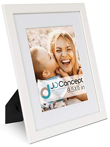 JD Concept 8.5x11 Wood Picture Frame, with Mat for 6x8 or Without Mat for 8-1/2 by 11, Thin Molding Design, Perfect for Document, Diploma,Certificate, Artwork,