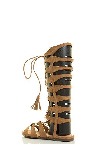 Sandali gladiatore da donna Sandali stringati open toe arancione con nappe Gran Descuento Precio Barato kfxwQMHM
