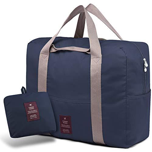 🥇 SPAHER Bolsa de Equipaje Bolsas de Viaje Plegable Duffle Bag Ligero Impermeable Organizador de Hombro de Almacenamiento de Transporte de Bolsas para IR de Compras Gimnasio Deportes Camping 40L Armada