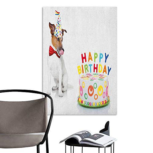 (Alexandear Self Adhesive Wallpaper for Home Bedroom Decor Kids Birthday Russel Dog Domestic Puppy Pet with Hat at a Party Celebration with Yummy Cake Multicolor Rental House Wall W16 x)