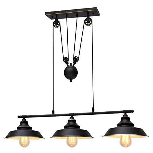 KingSo Three-Light Pulley Pendant Light, Kitchen Island Light Adjustable Industrial Rustic Chandelier Farmhouse Vintage Ceiling Lights Fixture for Kitchen Island Dining Room -