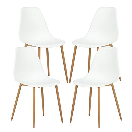 GreenForest Dining Chairs Set of 4, Eames Modern Style Metal & Wood Legs Kitchen Chair Dining Room Chair Plastic Seat and Back Living Room Chairs Set of 4 - White