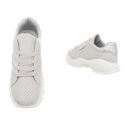 Ital-Design Sneakers Low Damenschuhe Schnürsenkel Freizeitschuhe Hellgrau 36900