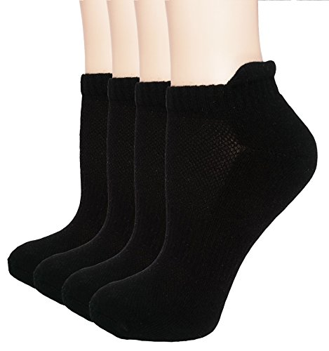 Women's Athletic Low Cut Ankle Quarter Cushion Socks with Gift Box 4 Pack (Black 2 - Shoe sizes: (Thick Cushion Tennis Socks)