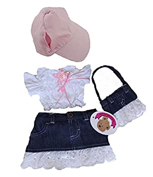Build your Bears Wardrobe Teddy Bear Clothes fits Build a Bear Teddies  Frilly Denim Outfit with Bag