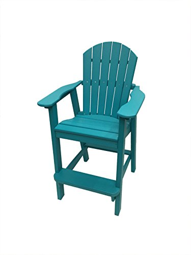 Phat Tommy Recycled Poly Resin Balcony Chair – Durable and Adirondack Patio Furniture Armchair, Teal (Tommy Furniture)