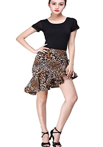 TALENT PRO Latin Dance Skirt Ballroom Cha Cha Samba Salsa Dance Skirt Dance Professional Classic All Match Fishbone Folding Tied Skirt Oblique Swing Skirts (Classic Ball Fringe)