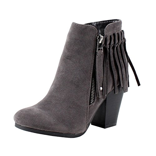 Breckelle's Gail-26 Women's Belted Chunky Stacked Heel Ankle Booties (8.5, Grey) (Belted Bootie)