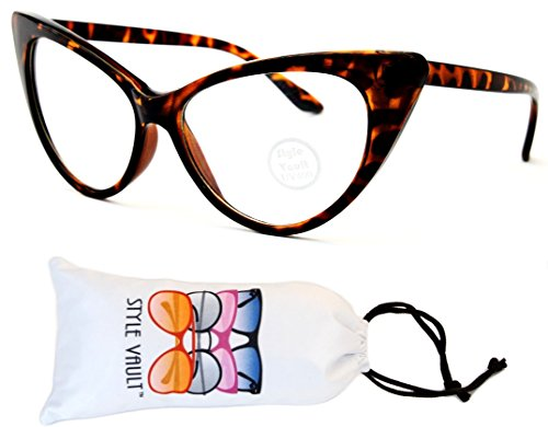 WM516-vp Style Vault Cateye Clear Lens Eyeglasses (S3298V Tortoise Brown-Clear, - Hipster Thick Glasses