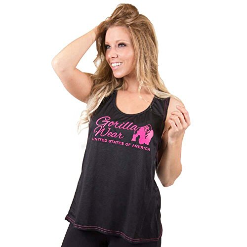 Gorilla Wear Womens Odessa Cross Back Tank Top - Black/Pink - schwarz/pink - Bodybuilding und Fitness Tanktop für Damen