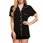 Ekouaer Black Sleepwear Set Womens Slipping Pajama Set(Black, Large)