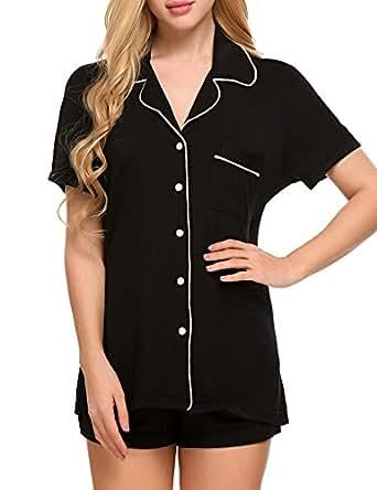 Ekouaer Black Nightwear Set Womens Pyjamas Sleepwear(Black, X-Small)