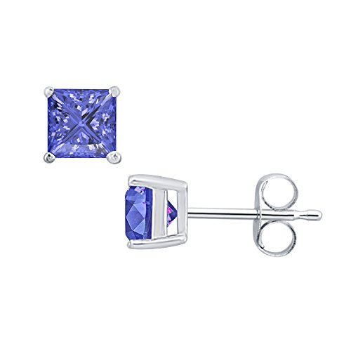 tusakha Fancy Party Wear (10MM) Princess Cut Blue Tanzanite Solitaire Stud Earrings 14K White Gold Over .925 Sterling Silver For Women's & Girls