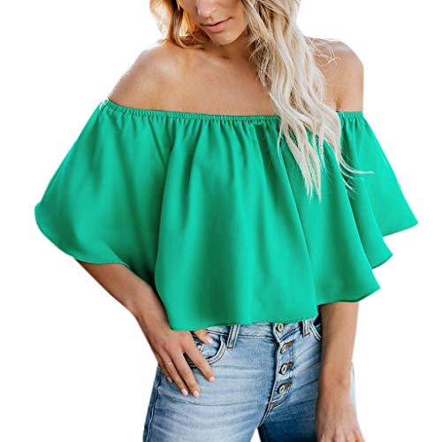 Womens Off Shoulder Ruffle Vest Ladies Summer Chest Solid Color Sleeveless Casual Short Tops(Green,S)