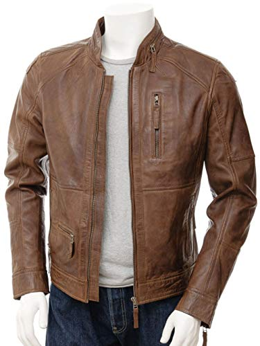 Leather jackets Mens for Biker - Distressed Genuine Lambskin Brown Men