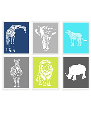 Animal Nursery, Safari Aminal Prints, Baby Boy Nursery, Elephant, Giraffe, Lion, Cheetah, Zebra, Rhino, Safari Prints, Modern Nursery, Gift (Safari Print Selection)