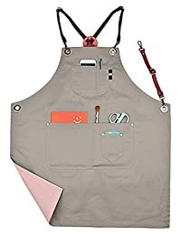 Perfashion Cute Men's / Women Reversable Wearing Apron with Adjustable Leather Straps & Waist Multi Pockets X-Strap Brown Leather
