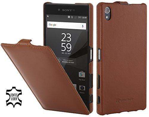 (StilGut UltraSlim, Genuine Leather Case, Cover for Sony Xperia Z5 Premium, Cognac Brown)