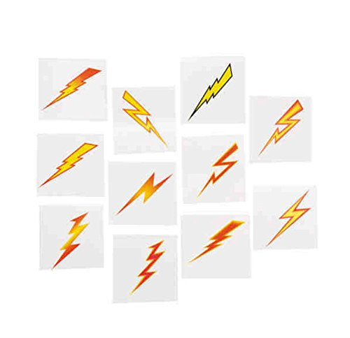 72pcs Temporary kids Lightning Bolt TATTOOS SUPER HERO birthday party favors