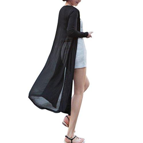 (Ladies Cardigan Mose Women Chiffon Long Cardigan Kimono Coat Tops Kaftan Coat (Free Size, Black))