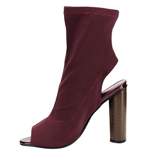 Beston Fg21 Femmes Extensible Peep Toe Bloc Talon Bottines Bourgogne