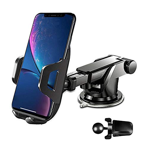 Car Phone Mount Cell Phone Holder for Car Air Vent/Dashboard/Windshield 2019 Newest Compatible with iPhone Xs Max R X 8 Plus 7 Plus 6S Samsung Galaxy S9 S8 Edge and Other Phone 4.7-6.5 inch (Black)