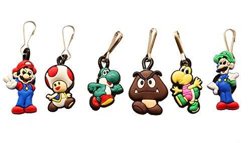 Mario Kart Keychain - AVIRGO 6 Pcs Zipper Pull Charms for Jacket Backpack Bag Pendant Set